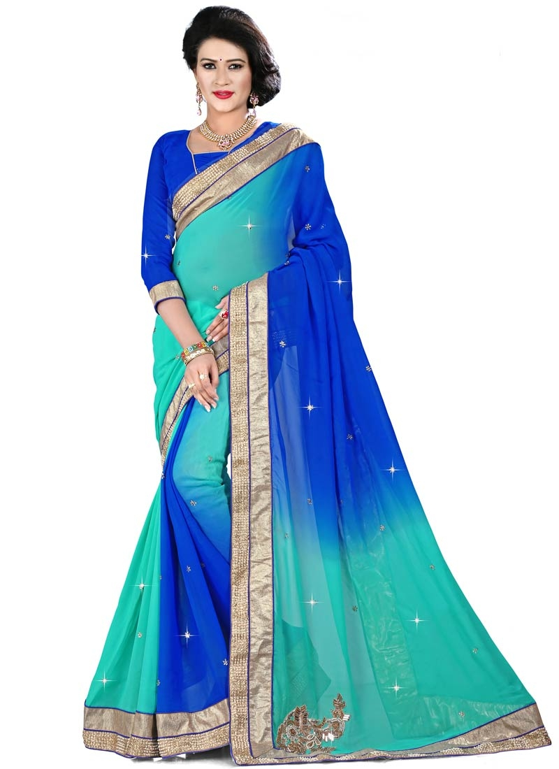 Hypnotic Blue And Turquoise Color Designer Saree