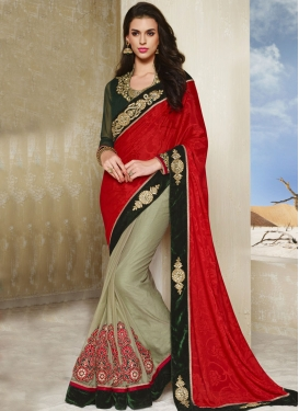 Hypnotic Booti And Resham Work Half N Half Party Wear Saree