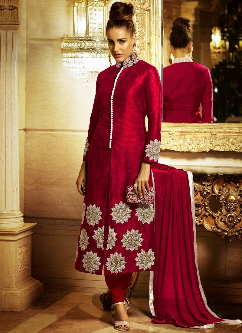 Hypnotic Booti Work Red Color Pant Style Designer Suit