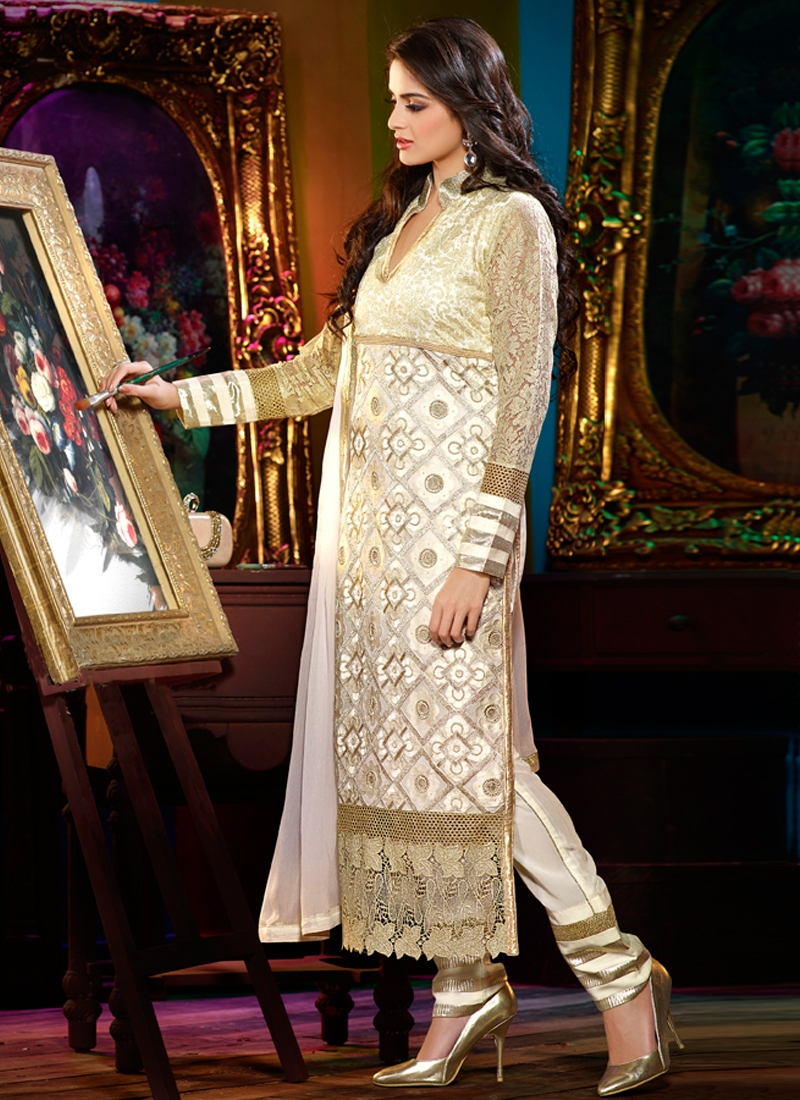 Hypnotic Cream Color Zari Work Designer Salwar Kameez
