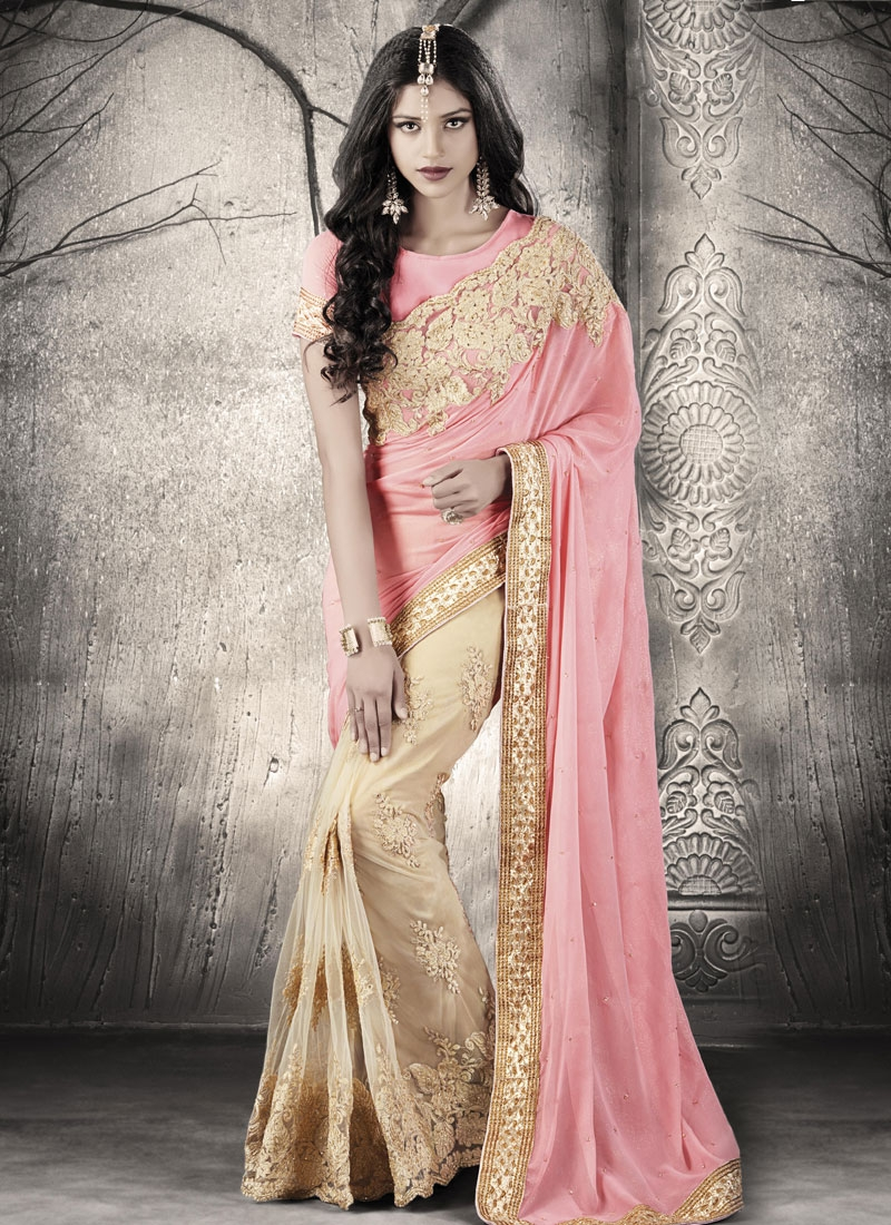 Hypnotic Embroidery And Stone Work Half N Half Wedding Saree