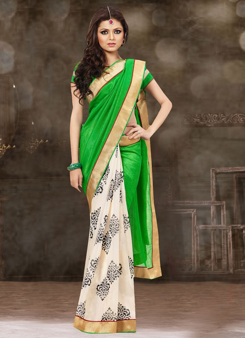 Hypnotic Green Color Drashti Dhami Half N Half Casual Saree