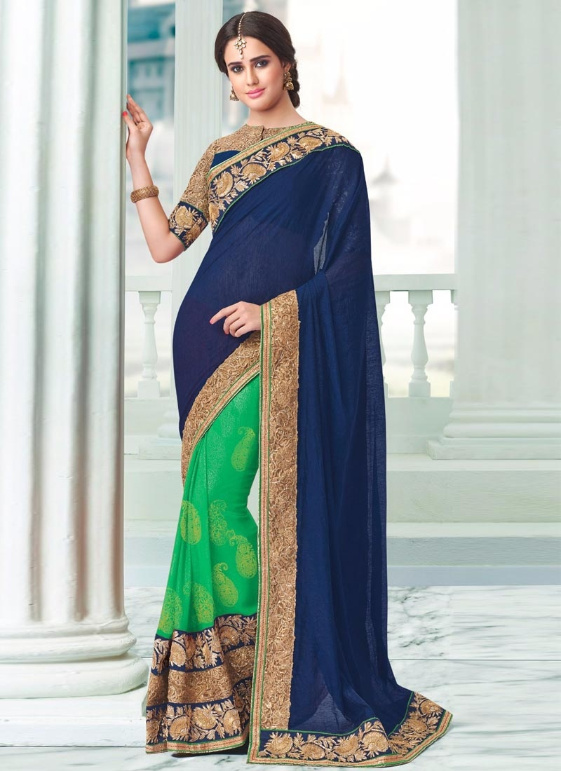 Hypnotic Lace Work Navy Blue Color Half N Half Party Wear Saree