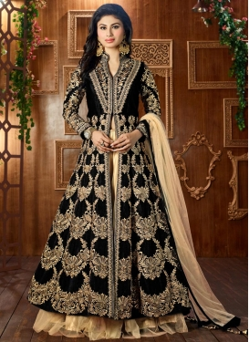 Hypnotic Mouni Roy Black and Cream Booti Work Designer Long Choli Lehenga