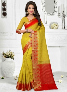 Hypnotic  Mustard and Red Thread Work Contemporary Style Saree