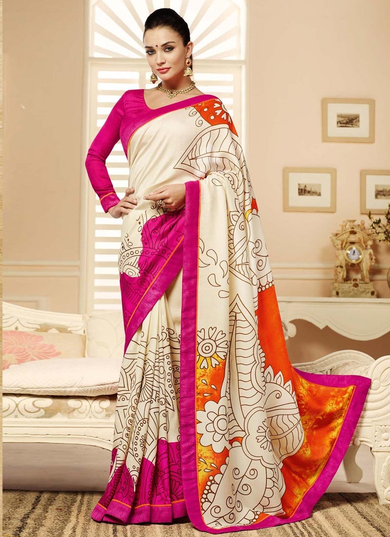 Hypnotic Off White And Rose Pink Color Casual Saree