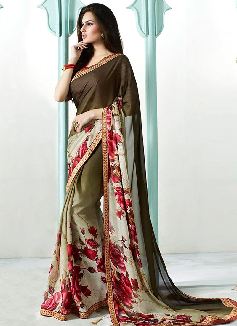 Hypnotic Olive Color Digital Print Work Casual Saree