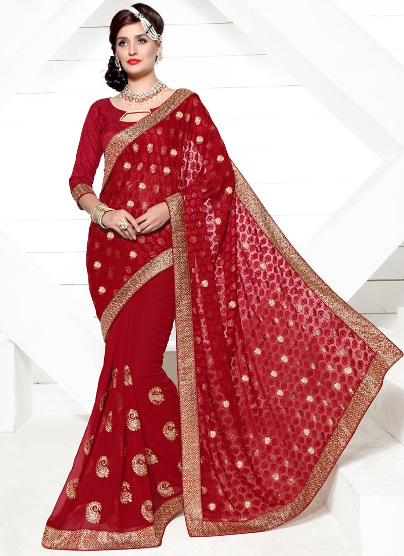 Hypnotic Red Color Brasso Georgette Party Wear Saree