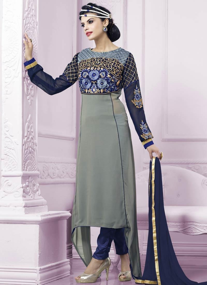 Hypnotic Resham Work Grey Color Party Wear Salwar Suit