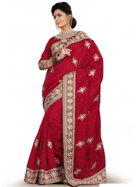 Hypnotic Resham Work Red Color Party Wear Saree