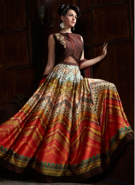 Hypnotic Satin Resham Work Readymade Designer Gown