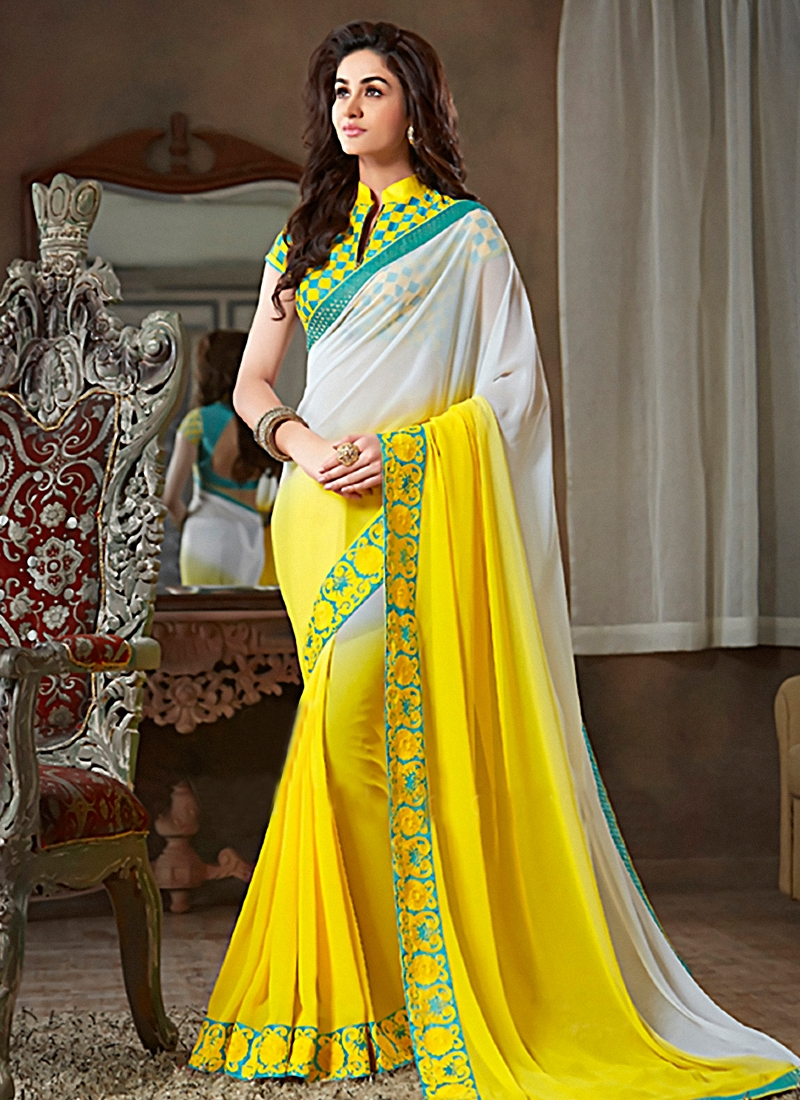 Hypnotic Yellow And Grey Color Party Wear Saree