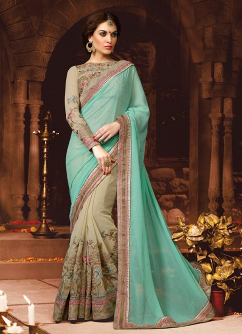 Hypnotizing Aqua Blue Color Lace Work Half N Half Wedding Saree