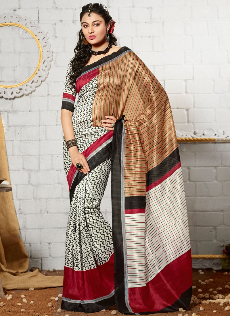 Hypnotizing Art Silk Off White Color Casual Saree