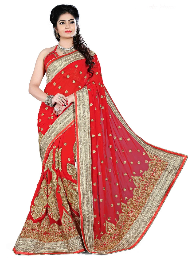 Hypnotizing Beads Work Wedding Saree