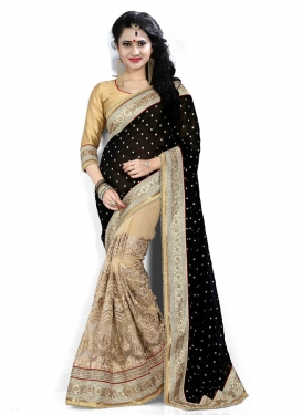 Hypnotizing Beige And Black Color Half N Half Designer Saree