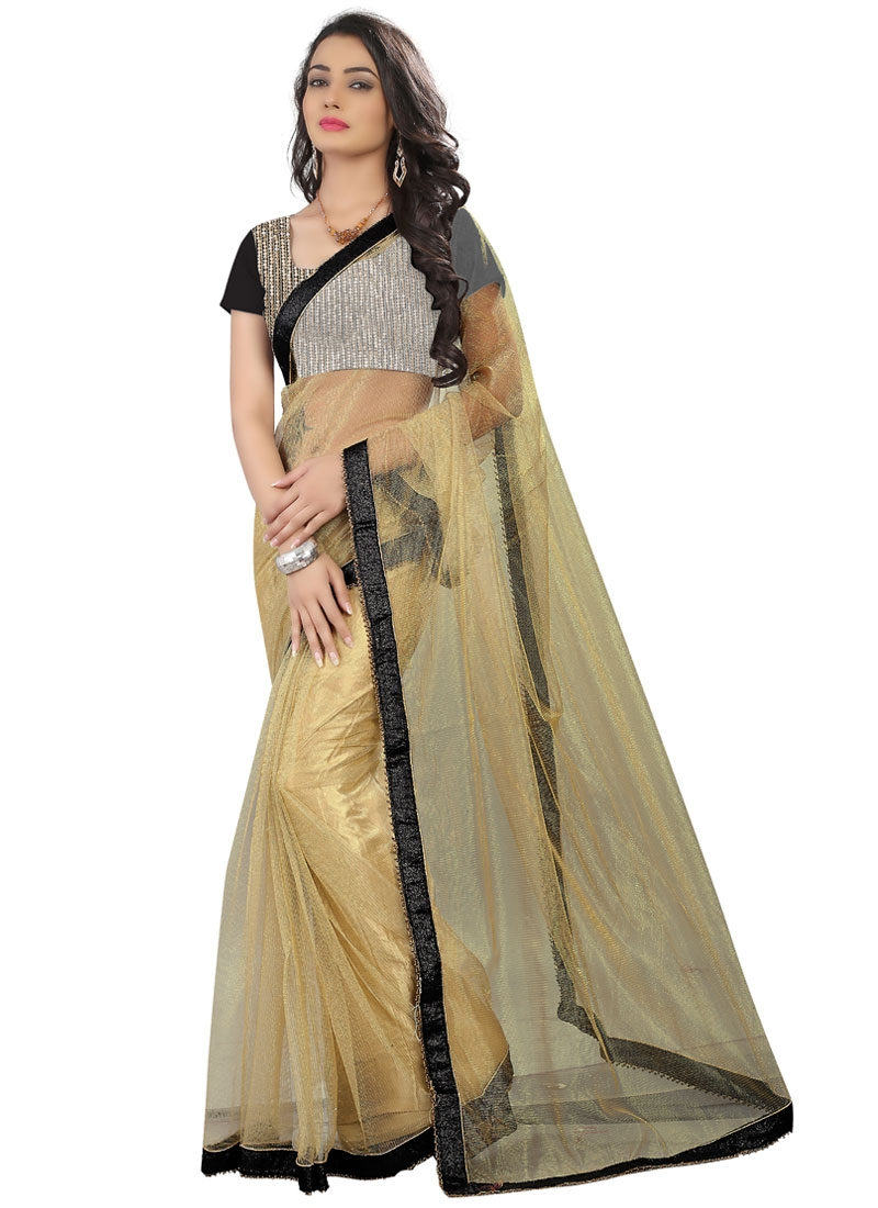 Hypnotizing Beige Color Net Party Wear Saree