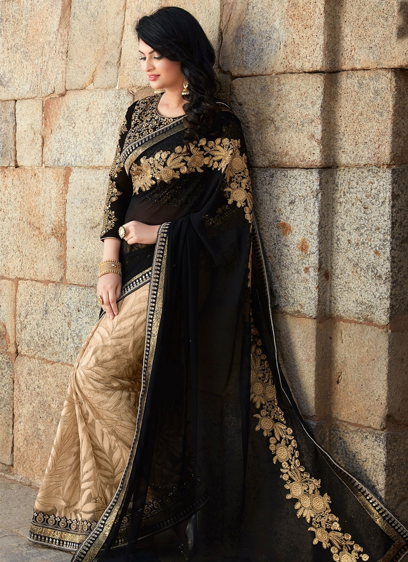 Hypnotizing Black And Beige Color Half N Half Designer Saree