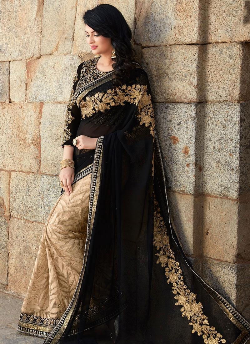 Hypnotizing Black And Beige Color Half N Half Designer Saree