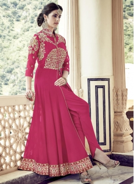 Hypnotizing Booti Work  Faux Georgette Ankle Length Designer Suit