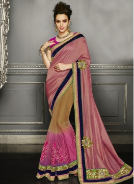 Hypnotizing Booti Work Half N Half Wedding Saree