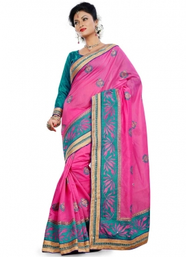 Hypnotizing Booti Work Rose Pink Color Party Wear Saree