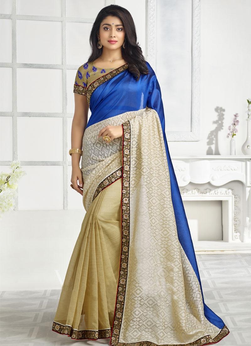 Hypnotizing Brasso Resham Work Shriya Saran Party Wear Saree