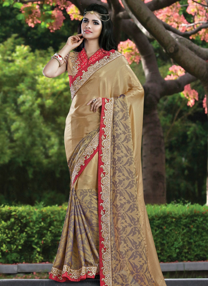 Hypnotizing Chiffon Satin Lace Work Party Wear Saree