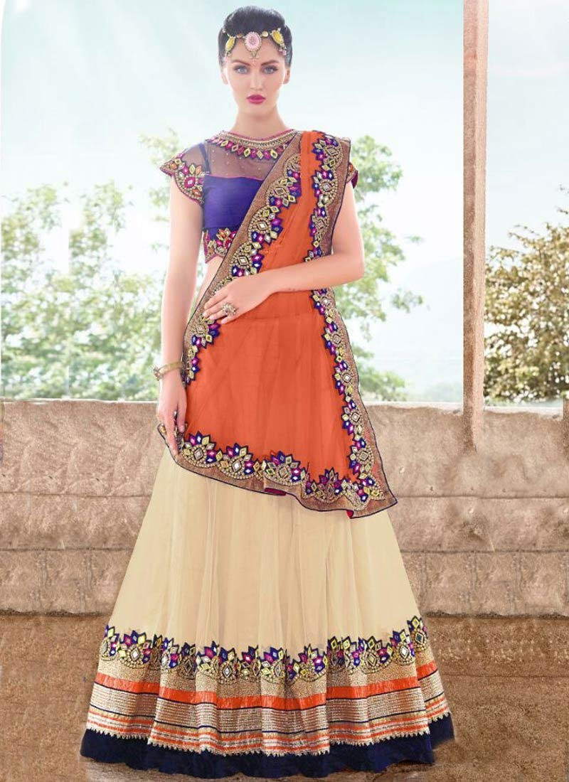 Hypnotizing Cream And Orange Color Designer Lehenga Choli