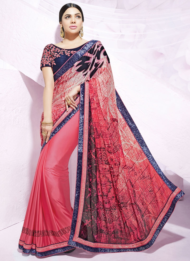 Hypnotizing Digital Print And Stone Work Party Wear Saree