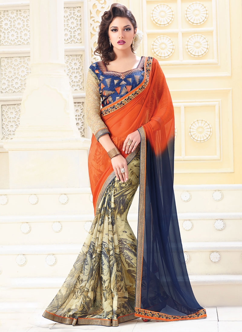 Hypnotizing Digital Print Work Orange Color Casual Saree