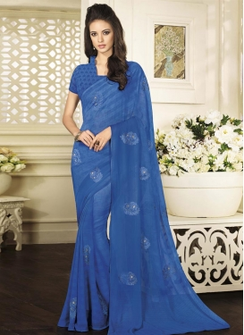 Hypnotizing Embroidered Work Trendy Classic Saree