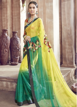 Hypnotizing Faux Chiffon Yellow Color Party Wear Saree