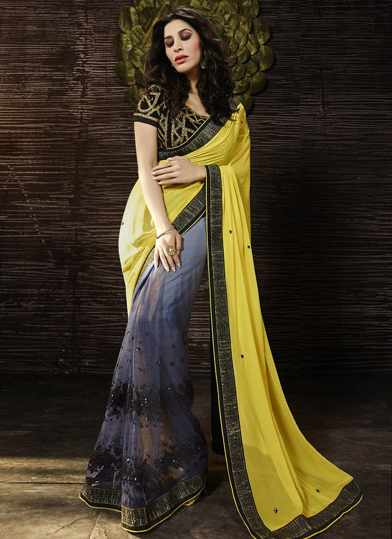 Hypnotizing Grey And Yellow Color Half N Half Designer Saree