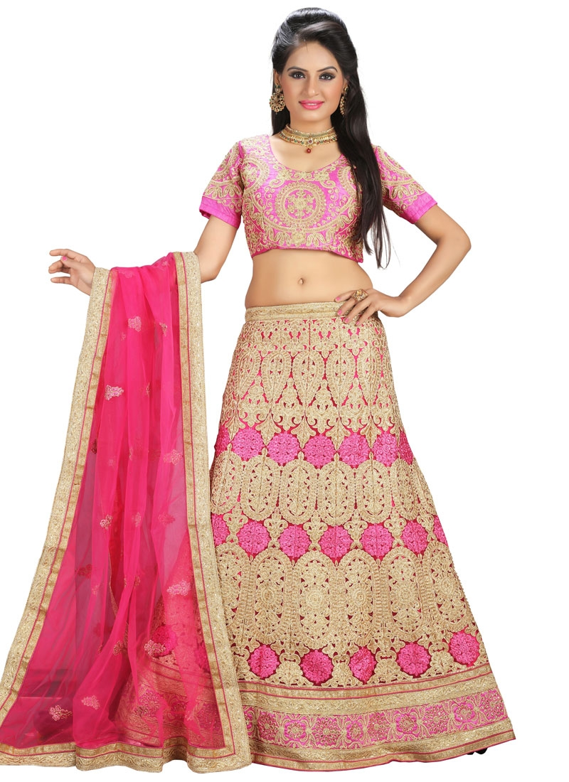 Hypnotizing Hot Pink Color Stone Work Bridal Lehenga Choli