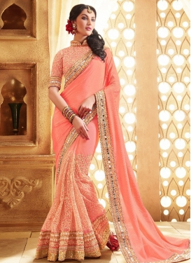 Hypnotizing Mirror Work Pure Chiffon Designer Saree