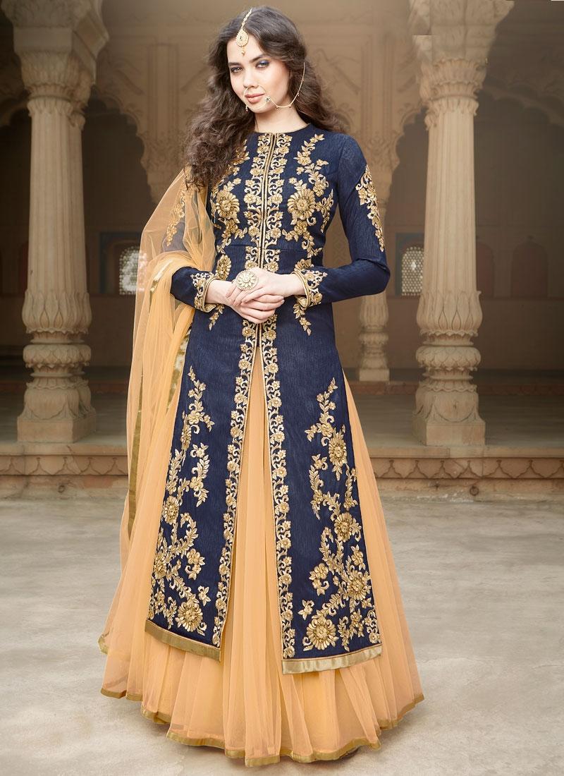 Hypnotizing Navy Blue Color Kameez Style Designer Lehenga Choli