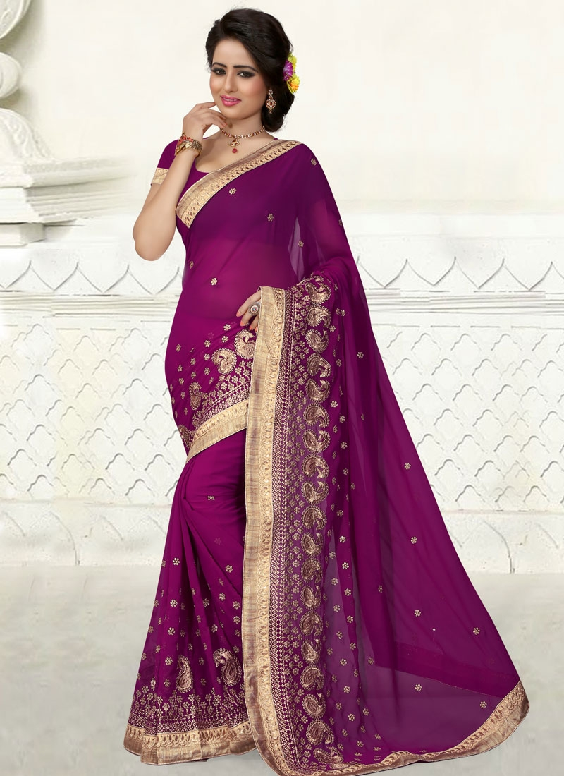 Hypnotizing Purple Color Resham Work Party Wear Saree