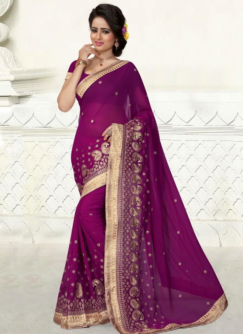 Hypnotizing Purple Color Resham Work Party Wear Saree