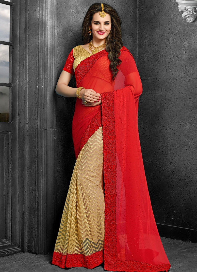 Hypnotizing Red And Beige Color Half N Half Designer Saree