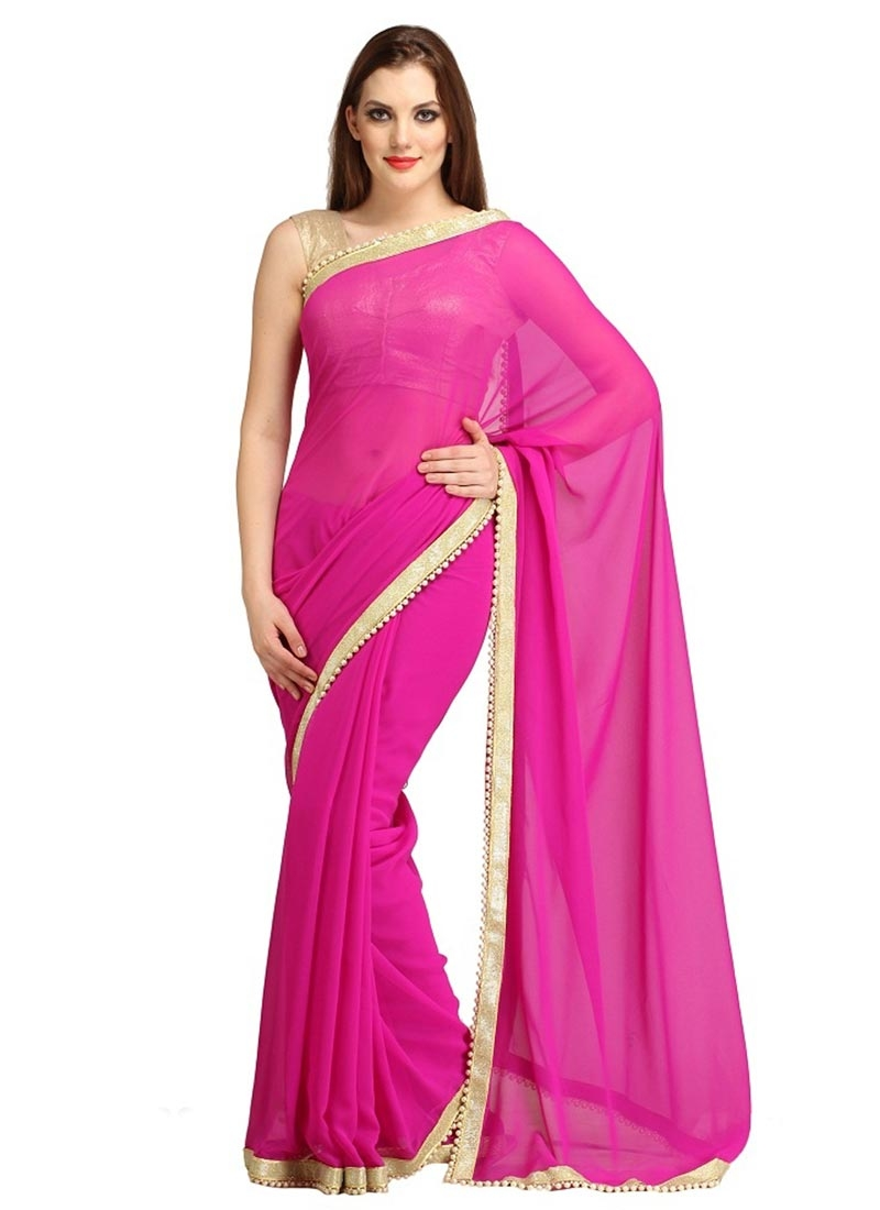 Hypnotizing Rose Pink Color Casual Saree