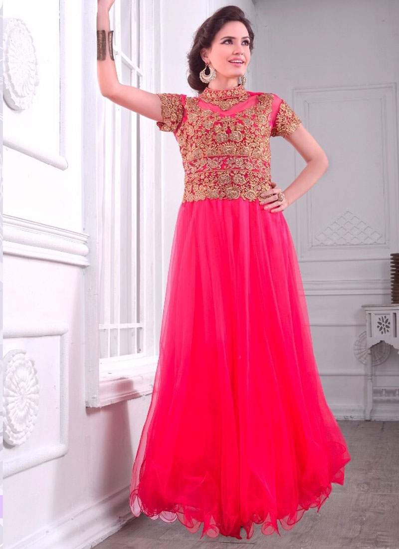 Hypnotizing Rose Pink Color Floor Length Readymade Designer Gown