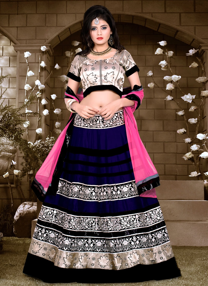 Hypnotizing Sequins Work Navy Blue Color Designer Lehenga Choli