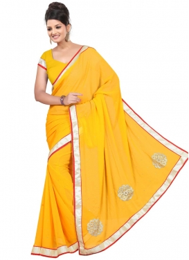 Hypnotizing Stone And Resham Work Casual Saree
