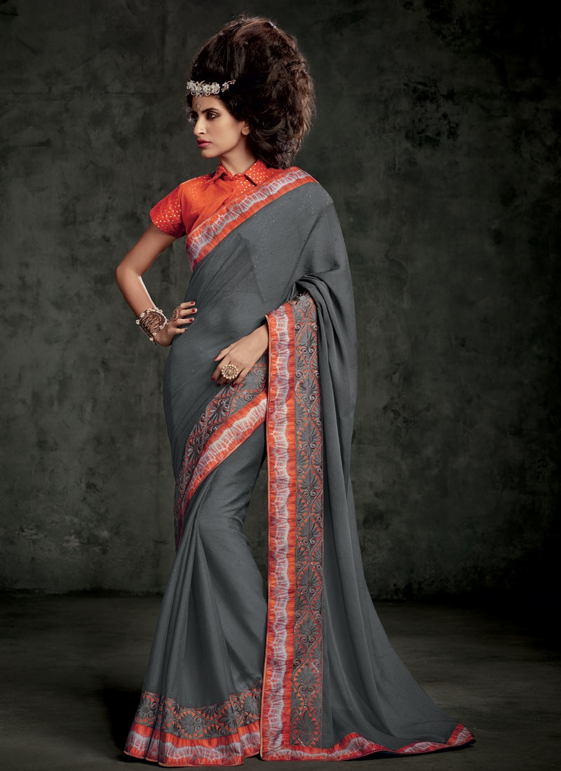 Hypnotizing Stone Work Grey Color Party Wear Saree