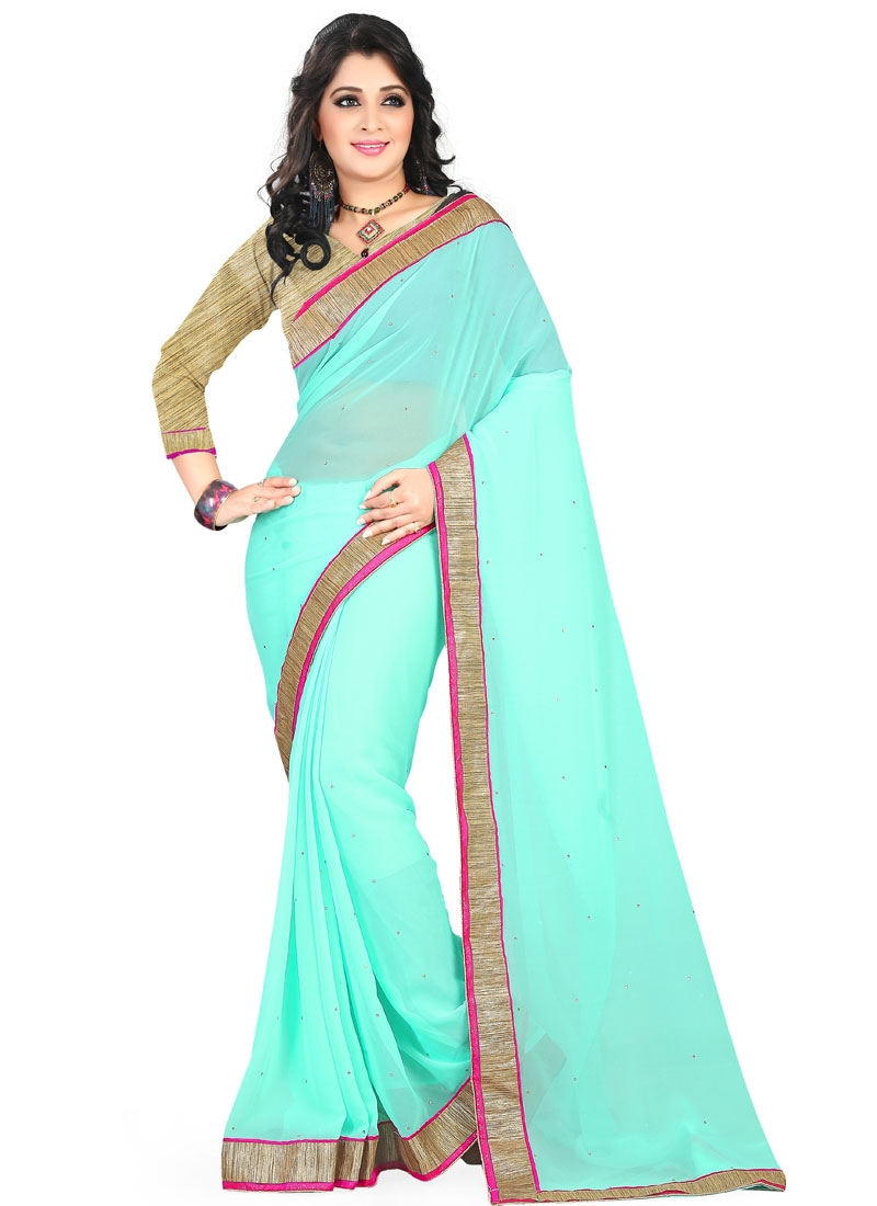 Hypnotizing Turquoise Color Casual Saree