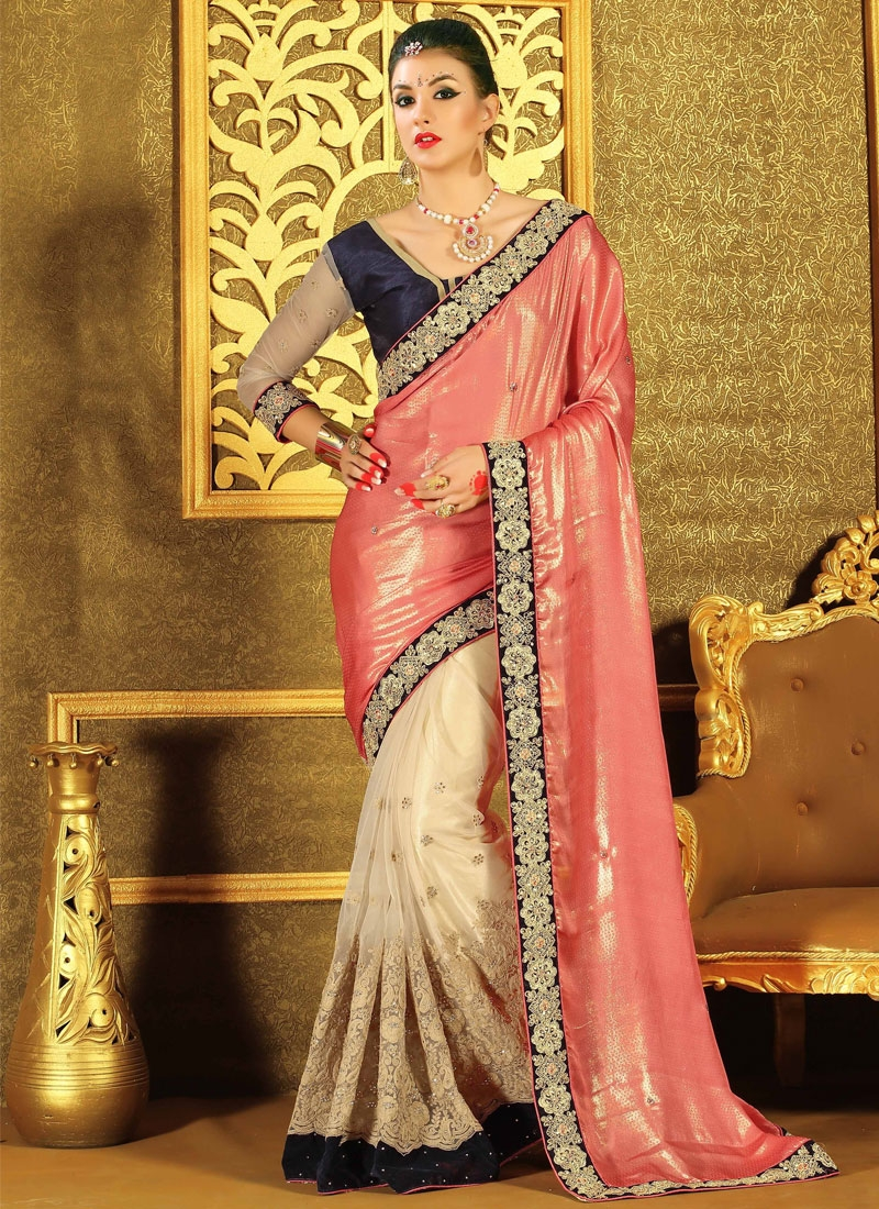 Hypnotizing Velvet Patch And Stone Work Half N Half Wedding Saree