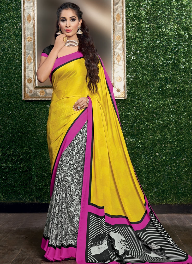 Hypnotizing Yellow Color Half N Half Casual Saree
