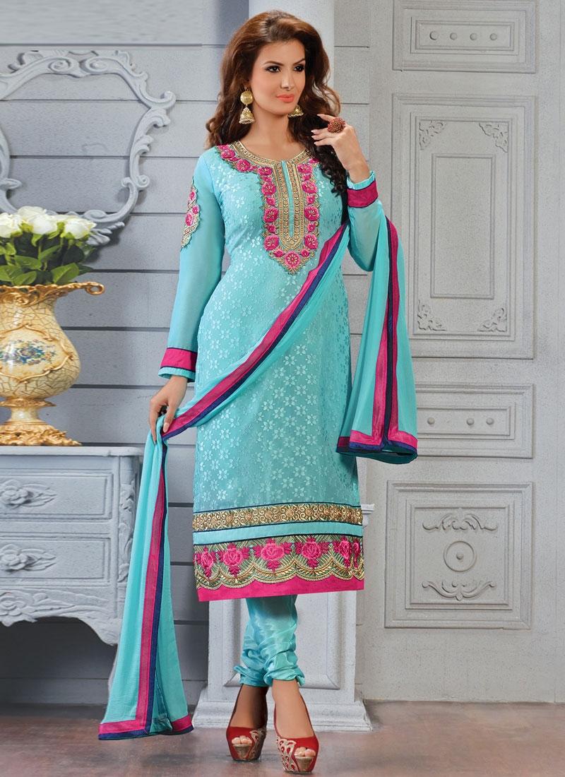 Ideal Aqua Blue Color Punjabi Salwar Suit