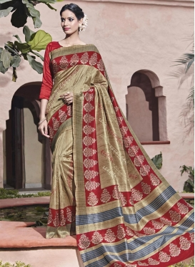 Ideal Beige and Red Print Work Trendy Saree For Festival